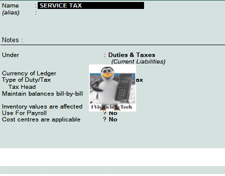Service Tax Ledger in Tally.ERP 9