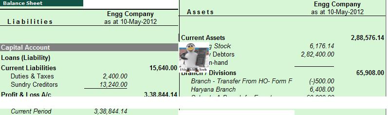 Balance Sheet in Tally.ERP 9