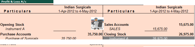 Hospital Accounts in Tally.ERP 9 Profit and loss account