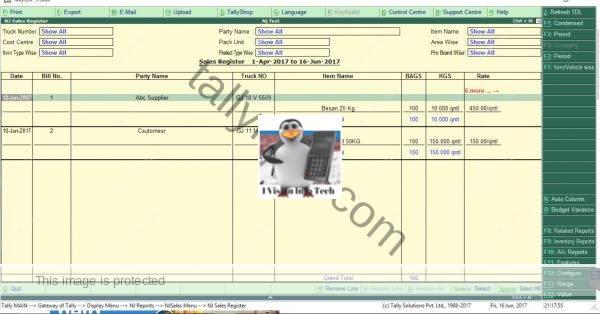 Sales register customisation in Tdl
