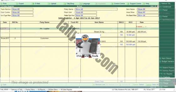Sales Register TDL